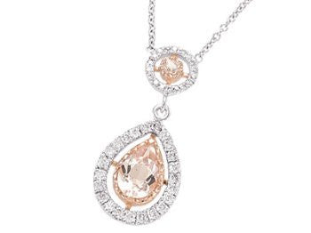 14K White and Rose Gold Diamond and Morganite Pear Shape Tear Drop Necklace