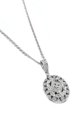 14K White Gold and Pave Diamond Antique Locket Necklace