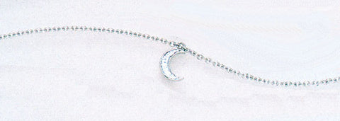 14K White Gold Diamond Ankle Bracelet with Dangling Pave Moon