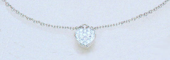 14K White Gold Diamond Ankle Bracelet with dangling Puffed Heart