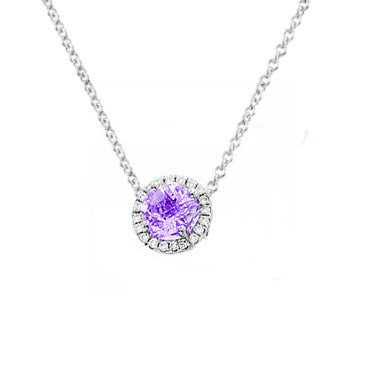Amethyst and Diamond Round Necklace
