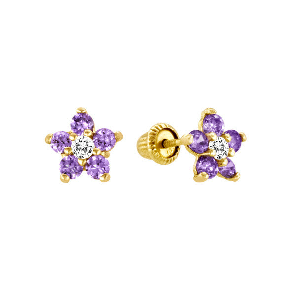 Amethyst Flower Studs in 14kt Yellow Gold