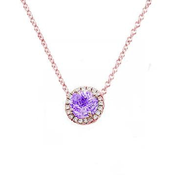 Amethyst and Diamond Round Necklace Available in Other Gemstones