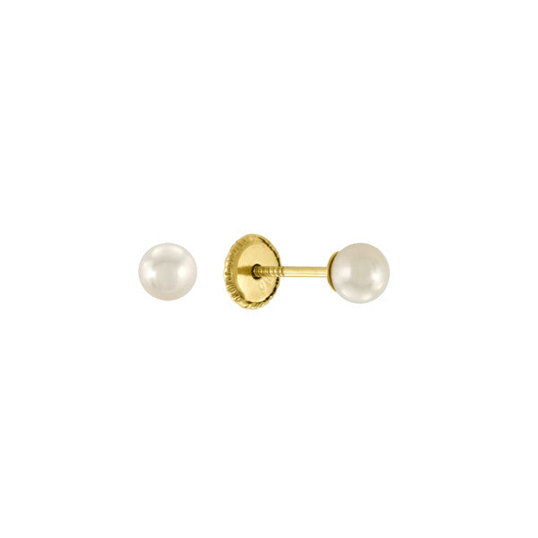 Baby Girl White Pearl Studs in 14kt Yellow Gold