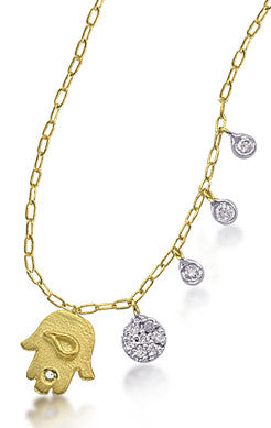 Yellow Gold and Diamond Circles Necklace