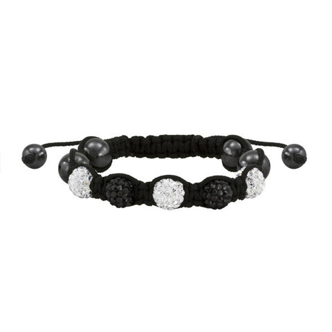 Black and White Shamballa Macrame Crystal Bead Bracelet Adult