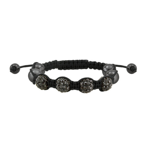 Black Chord and Crystal Shamballa Inspired Bracelet