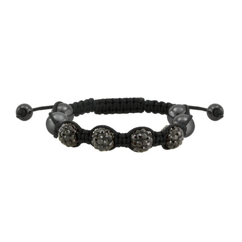 Black Chord and Crystal Shamballa Inspired Bracelet Adult