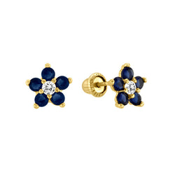 Blue Sapphire Flower Stud Earrings 14kt yellow Gold
