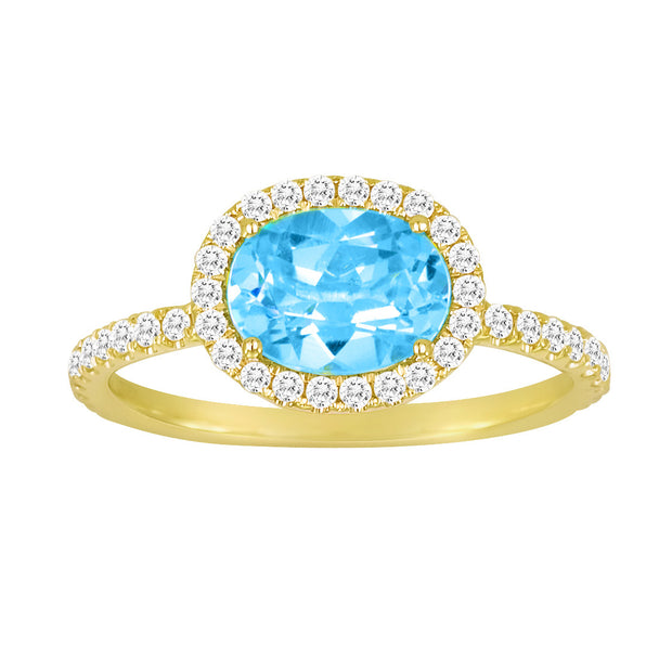 Blue Topaz Yellow Gold Diamond Cocktail Ring