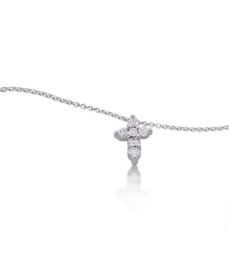 Cross Pendant  with Diamonds in White Gold