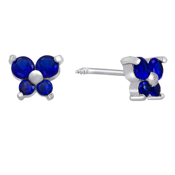 Butterfly Earrings in Silver and Created Blue Sapphire