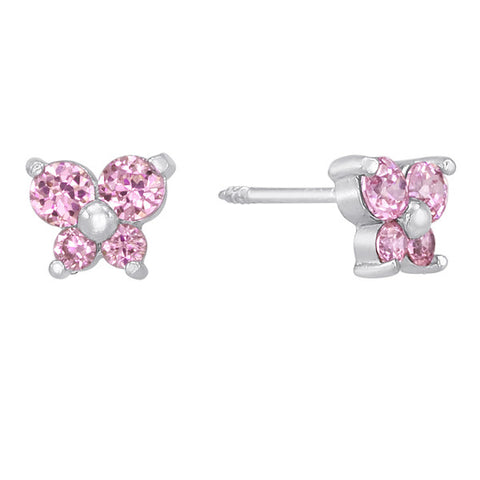 Butterfly Earrings in Sterling Silver and Pink Topaz