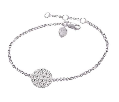 Circle Disc Diamond White Gold Bracelet