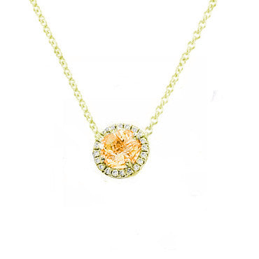 Citrine and Diamond Solitaire Necklace Yellow Gold