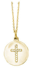 Cross on Disc Diamond Yellow Gold