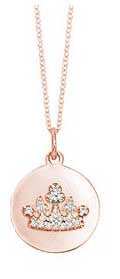 Crown of Diamonds on Rose Gold Disc Necklace