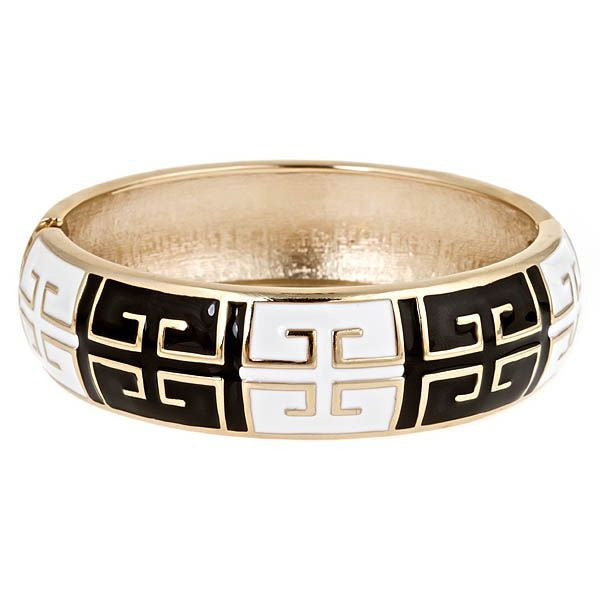 Cuff with Greek Motif in Black and White by Fornash