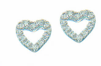 Diamond  Heart Earrings Studs.