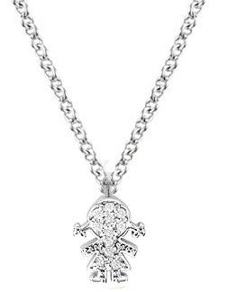 Diamond Girl Necklace in White Gold