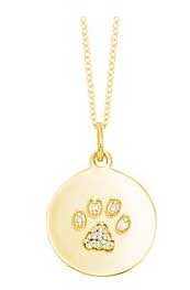 Diamond Paw Print Disc Necklace in Yellow Gold