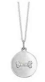Dog Bone with Diamonds in White Gold Disc Necklace