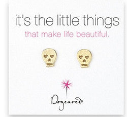 Dogeared Gold Dipped Skull Earrings