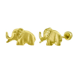 Elephant Stud Earrings in Yellow Gold