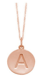 Embossed Initial Disc Necklace in Rose Gold