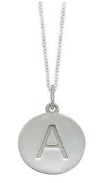 Embossed Initial Disc Necklace in White Gold