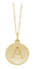 Embossed Initial Disc Necklace in Yellow Gold