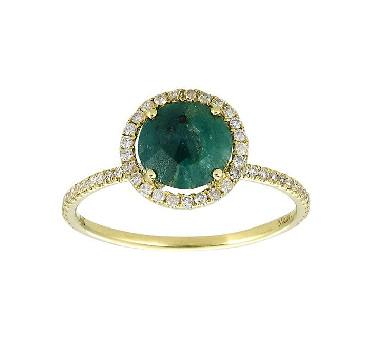 Emerald In The Rough Yellow Gold Diamond Ring