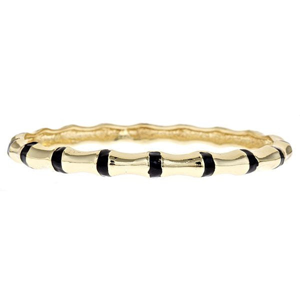 Enamel and Vermeil Black Bamboo Bangle by Fornash