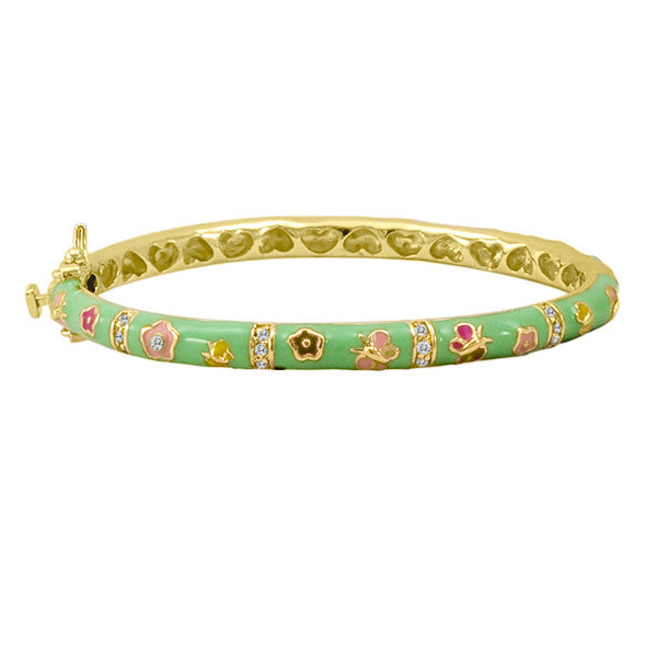 Enamel Baby Bangle with Flowers in Mint Green