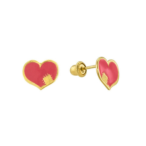 Enamel Heart Stud Earring in Yellow Gold