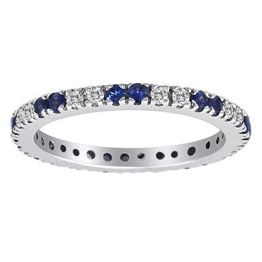 Eternity Band Blue Sapphire and Diamond Alternating
