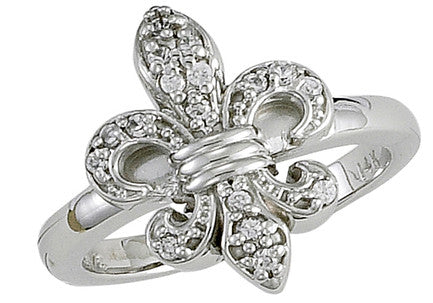 Fleur de Lis Diamond and White Gold Ring