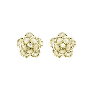 Flower Rose Stud Earrings in Yellow Gold