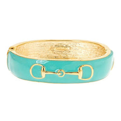 Fornash Enamel Horse Bit Bangle in Aqua