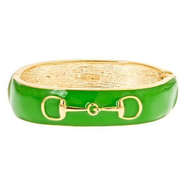 Fornash Enamel Horse Bit Bangle in Green