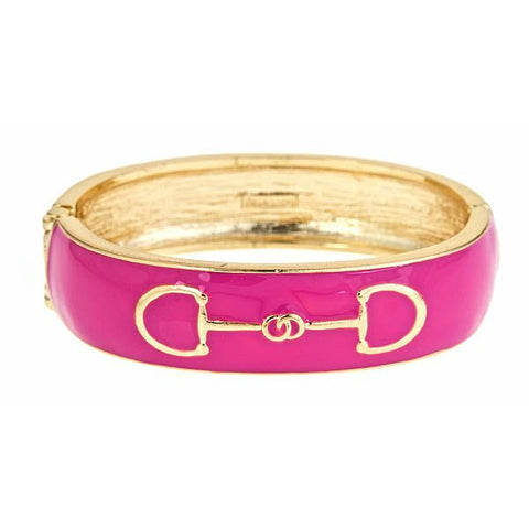 Fornash Enamel Horse Bit Bangle in Pink