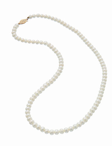 Fresh Water 5.5mm Pearl Necklace 14K Gold Clasp