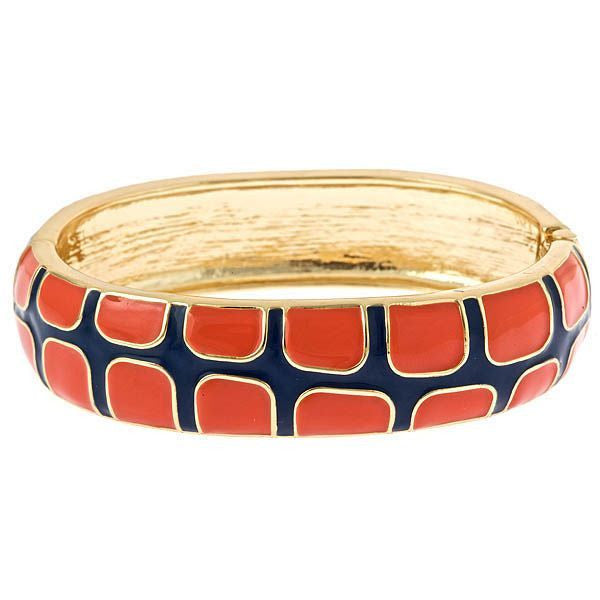 Gecko Bangles by Fornash Navy and Orange Enamel Bangle As Seen in O Magazine