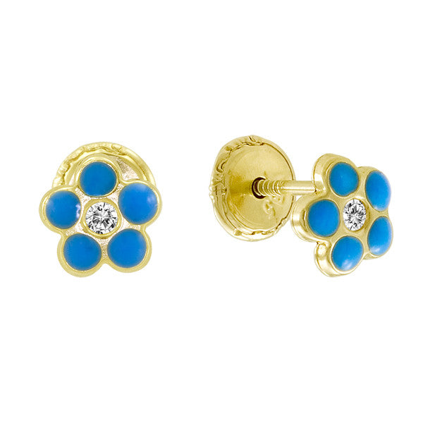 Gold Blue Enamel Flower Earings