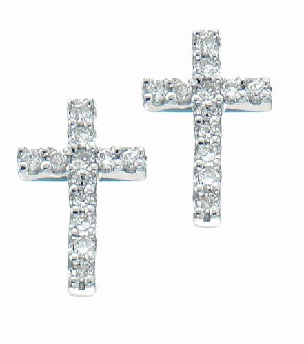 Gold Cross Earrings 14K White