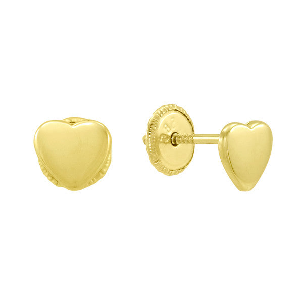 Gold Heart Earrings for Babies and Little Girls