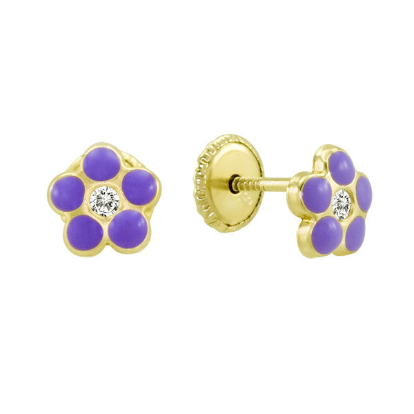 Gold Purple Enamel Earings