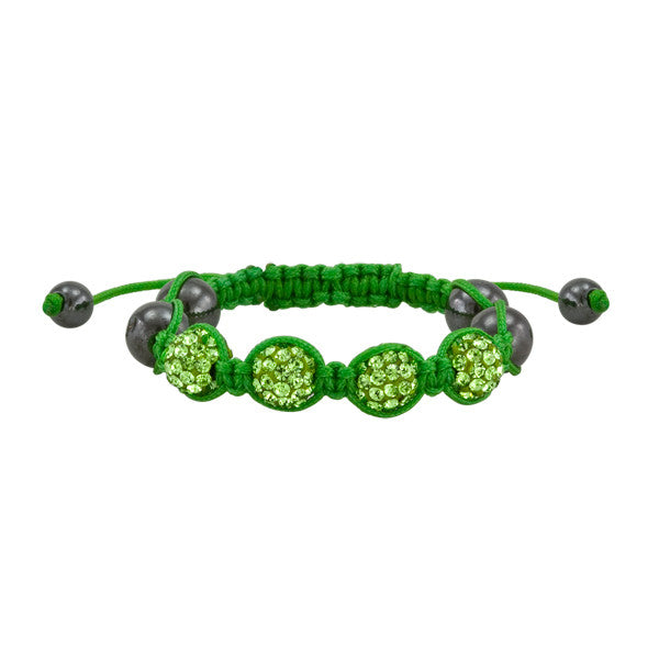 Green Rope and Crystal Shamballa Bracelet