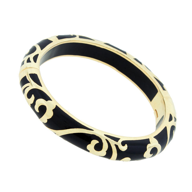 Hamilton Crawford Bangle Black Scroll Bangle