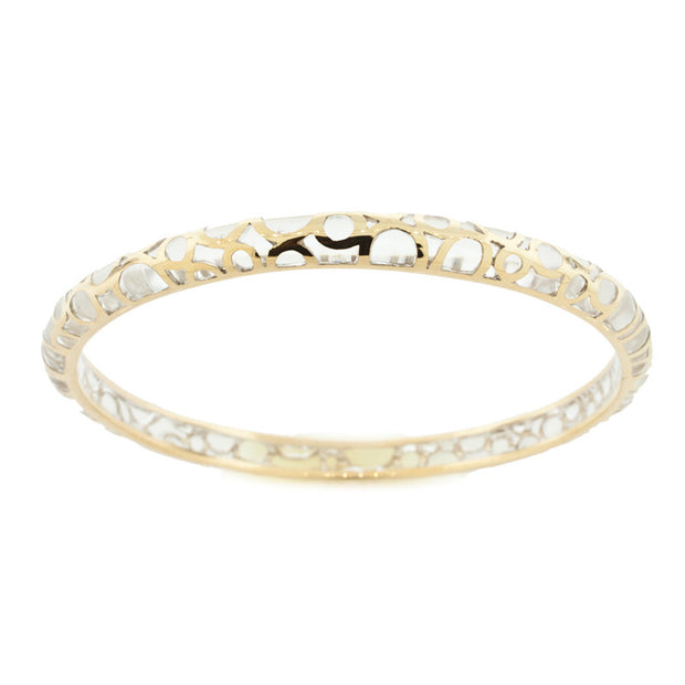 Hamilton Crawford Bangle Clear and Gold Bubbles